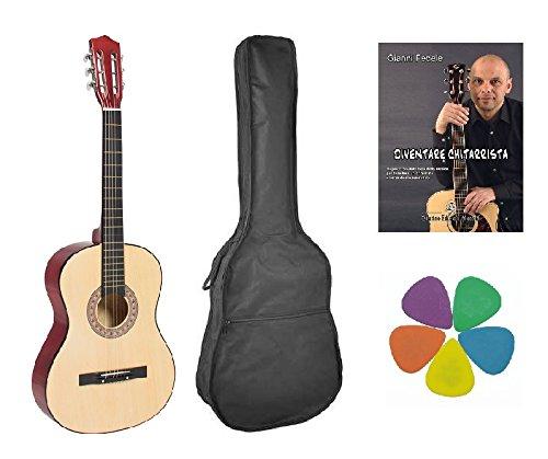 Kit chitarra classica 4/4 colore naturale, borsa, metodo, 5 plettri.