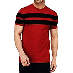 Leotude Men's Cotton T-shirt (Maroon, Large)