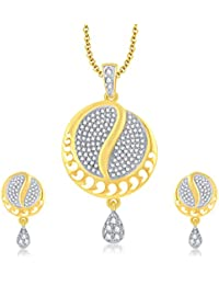 Sukkhi Sparkling Gold Plated CZ Pendant Set For Women