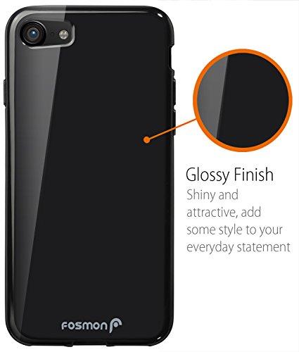 iPhone 8 / 7 Hülle, Fosmon [DURA-T] [Slim] Schutz TPU Case Abdeckung Cover für Apple iPhone 8 / 7 - Jet Schwarz Schwarz