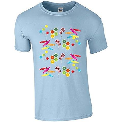 Bambini Collezione 207, Gildan Light Blue Softstyle Youth Ringspun T-shirt Blu Bambino Ragazzo Maglietta Boys Top con Design Colorato. Taglia XS S M L XL, 1-14 Anni.