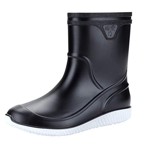 Wellies/Dorical Herren Gummistiefelette Schwarz Blau 11cm Tall Waterproof Fashion Halbschaft Regenstiefel Rain Boots Wasserdicht Stiefel Casual Schuhe Rutschfest für Männer 39-44 EU(Schwarz,44 ()