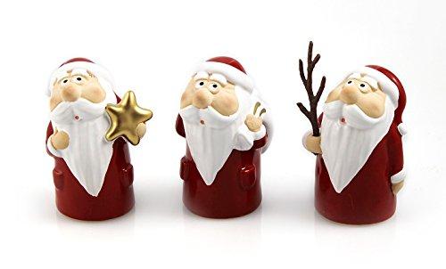 3x Deko Figur Weihnachtsmann im Set je 8 cm, Ton rot weiß, lustige Steingut Tonfigur Nikolaus Dekofiguren Winter Weihnachtsfigur Weihnachtsdeko modern
