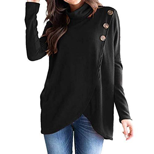 Damen Rollkragenpullover Solide Langarm Warm Kabel Gestrickt Lose Button Kleidung Wrap Asymmetrischer Hem Button Sweatshirt Bluse Tops Bluse Shirt (Color : Schwarz, Size : S) -