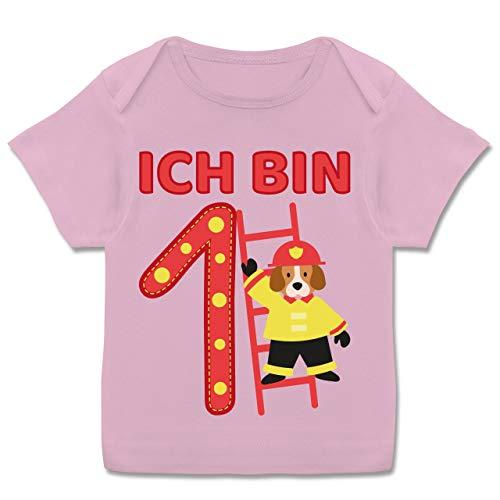 Geburtstag Baby - Ich Bin 1 Feuerwehrhund - 80-86 (18 Monate) - Rosa - E110B - Kurzarm Baby-Shirt für Jungen und Mädchen -