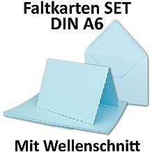 DIN A6 Faltkarten Sets Mit DIN C6 Briefumschlägen | Wellenschnitt  Hellblau  | 25 Sets | Einladungskarten   Menükarten   Blanko | 10,5 X 14,8 Cm | Mit  ...