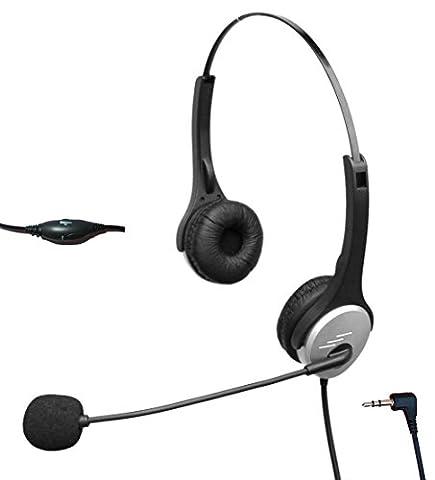 4appel h502j252,5Micro casque filaire avec suppression du bruit pour Polycom Cisco Linksys Spa Grandstream Adaptateur Panasonic Gigaset & zultys Téléphone de bureau IP et téléphones DECT sans fil avec prise jack 2,5mm