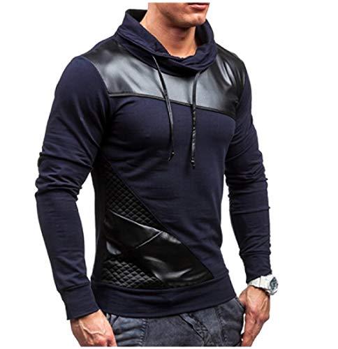 CuteRose Men Contrast Plus-Size PEA Coat Long-Sleeve Hooded Sweatshirt Navy Blue S - Plus Size Peacoats