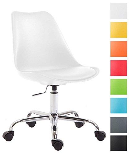 Clp sedia da ufficio toulouse, scocca in polipropilene, girevole, regolabile in altezza, telaio in metallo, max capacità di carico 136 kg, sedia con ruote, sedia computer con schienale bianco
