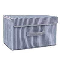 CUUYQ Foldable Storage Bins, Fabric Storage Boxes with Lids and Handles Cubes Stackable Fabric Storage Basket Cloth Storage Box,Gray stripe_S