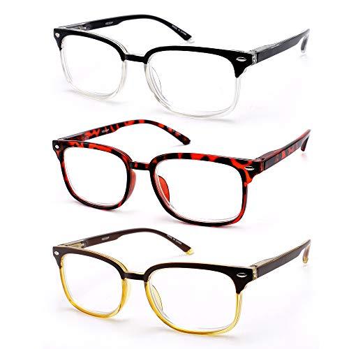 VECIEN 3 Stuecke Lesebrille mit Matter Oberfläche Vintage Kristalllinse Lesehilfe Sehhilfe mit Federscharnier Rund Vollrandrahmen Arbeitsplatzbrille für Männer Frauen