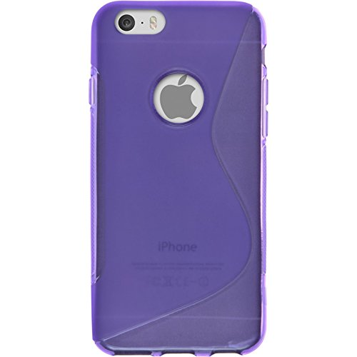 Coque en Silicone pour Apple iPhone 6s / 6 - S-Style noir - Cover PhoneNatic Cubierta + films de protection pourpre