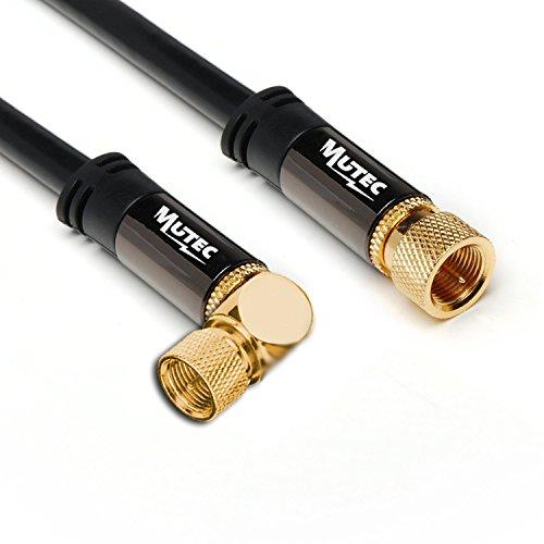MutecPower 10m SAT F-Typ Stecker auf Stecker 90° gewinkelt Koaxialkabel Satellite Coaxial Digital Audio Video Kabel - 10 Meter L-Form (Cinch-internet-modem)