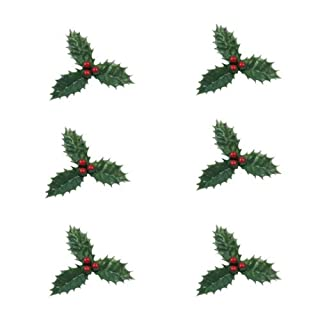Anniversary House : Christmas Cake Decorations : 6 Pieces of Holly with Berries