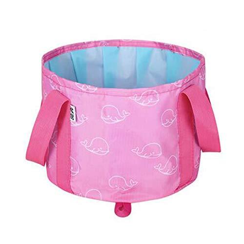 Klappbarer Eimer, Zusammenklappbares, tragbares Becken Outdoor Family Camping-Multifunktions-Wasch-Eimer, Kapazität 10L, Blau, Pink, Schwarz (Color : Pink, Size : 28 * 18cm)