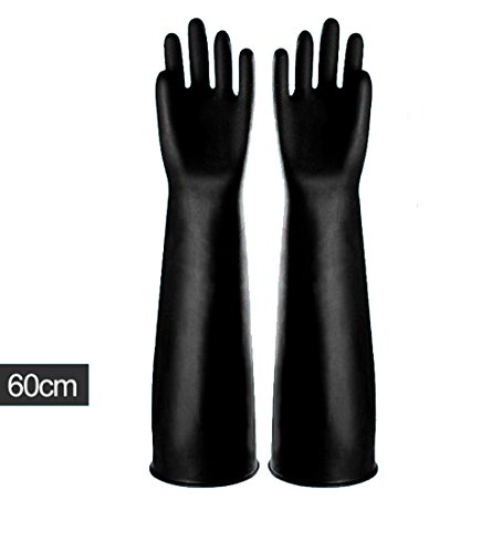 Handschuhe Schwarz Länge Ellenbogen (kingwon Ellenbogen Länge Industrie Gauntlet Handschuhe lang und dicken Gummi Latex Handschuhe 60 cm Säure Handschutz tragen, 1 Paar)