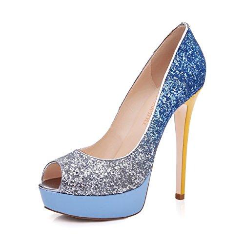 uBeauty - Femme Sandales Plateforme - Grande Taille Chaussures Open Toe - Escarpins Peep Toe Multicolore Bleu
