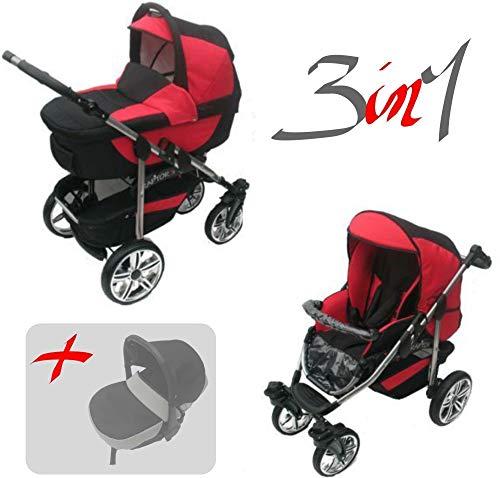 Jackmar | Gestell in Schwarz | Luftreifen in Weiß | 3 in 1 Kinderwagen Megaset (12 Teile) | Farbe: Schwarz & Rot