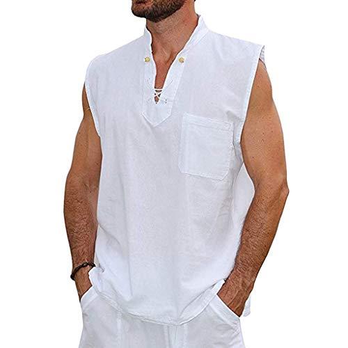 Tyoby Herren Sommer Mode Slim Casual Multicolor Baumwolle Leinen Ärmellos Revers Shirt Vintage Klassisch(Weiß,L)