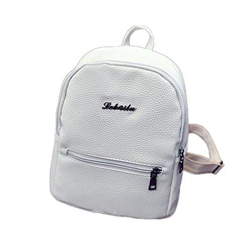 Damen Rucksack, HUIHUI Mini solide Leder Backpack Wasserdicht Reiserucksack Outdoor Wanderrucksacke Jugendliche mädchen Rucksack Schultasche (Weiß)