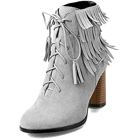 YONG Zapatos de tacón Final de felpa gruesa de resistencia al desgaste del tendón con borlas y zapatos del ocio