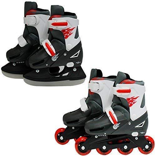 SK8 Zone Jungen Roten 2-in-1 Roller Klingen Inlineskates Verstellbare Größe Kinder Pro Combo Multi Eislaufen Stiefel New - Large 3-6 (35-38 EU) (Roller Skates Für Jungen Größe 6)