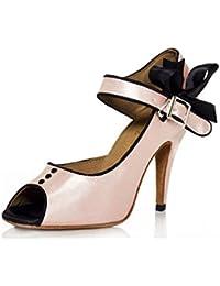 WYMNAME Mujeres Zapatos De Baile,Satén Zapatos De Baile Latino Tacones Fondo Blando Amistad Cuadrado Modernos...
