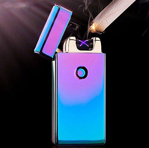 Arc Feuerzeug Plasma Elektronische Dual Arc Flammenlose winddicht USB wiederaufladbar Geschenk-Box & USB-Kabel Rainbow (Mehrfarbig)