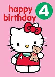 Hello kitty happy birthday 4 badge greetings card kitchen home - Hello kitty birthday images ...