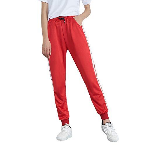 ZIYOU Female Fitness Sporthosen, Yoga Gym Gestreiften Jogger Hosen Outwear Sport Streetwear Normaler Bund Pluderhosen für Damen(XL,Rot)
