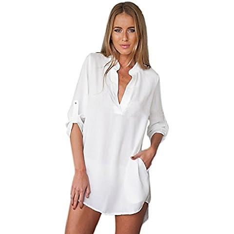 Oyedens Tops-Camicetta da donna a maniche lunghe con scollo a V, maglia larga camicie da donna, stile Casual, da lavoro