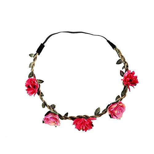 Yazilind Multicolor Daisy Flower Stirnband Krone mit verstellbarem elastischem Blumenhaar Mädchen Kinder Rose Red (Flower Daisy Stirnband)