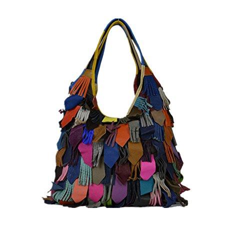 Lammfell Leder Hobo Handtaschen (Xuanbao-HB Damen-Damenhandtasche Frauen Soft Lammfell Leder Multicolor Tote Crossbody Umhängetasche Taschen Hobo Taschen (Farbe : Mehrfarbig))
