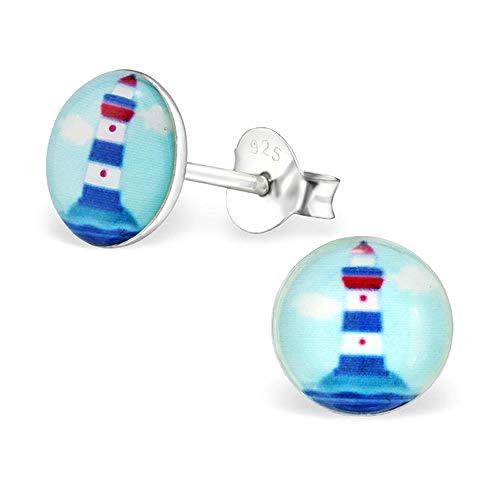 So Chic Bijoux© Ohrringe für Kinder rund 7 mm Leuchtturm Marine Meer Ozean Fels Frankreich Blau Weiß Rot Silber 925