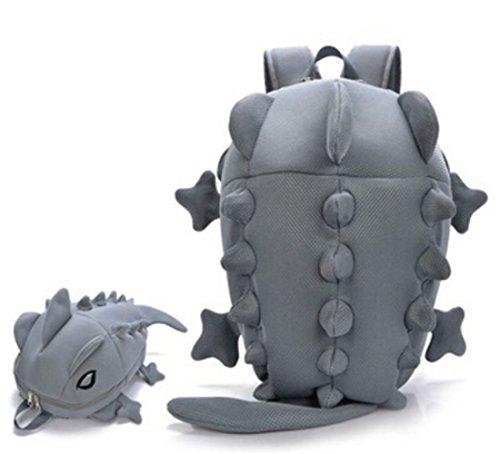 Zaino Simpatico Cartone Animato 3d Mostro Dinosauro Scuola Borse Per Ragazzi Libro Borsa Cartella Mochila - Blu Grigio
