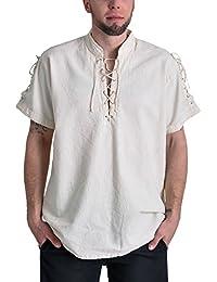 Chemise de pirate médiéval manches courtes cordelette col droit coton écru