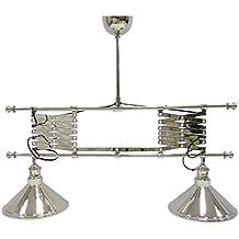 Better & Best-Lámpara de techo tipo billar, con 2 luces, con fuelle arriba abajo, color plateado