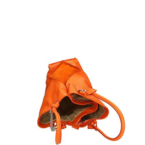 Chicca Borse Handbag Borsa a Mano in Vera Pelle Made in italy - 36x28x17 Cm Arancio