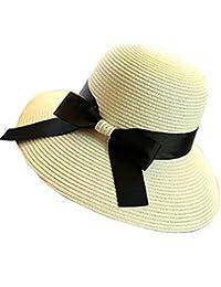 TININNA Elegante Bowknot Floppy Estate Spiaggia Cappello di Paglia Cappello  da Sole Berretto Sole Visiera Cappello d14ed6454079