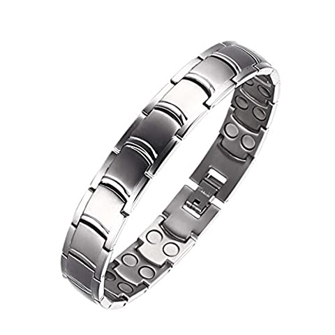 Moocare Silber Titanium Magnetische Therapie Armband für Arthritis Schmerzlinderung Heilung Wristband