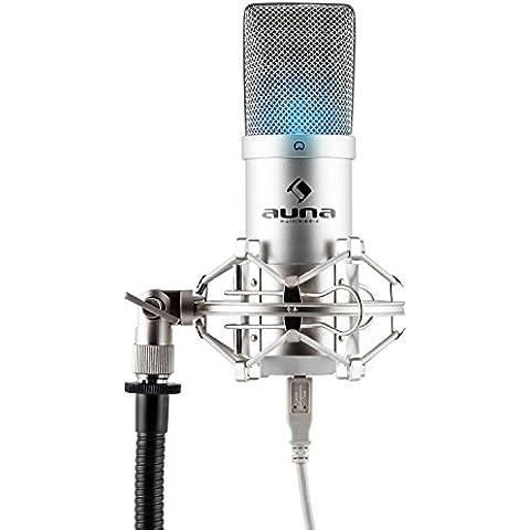 auna MIC-900S-LED Micrófono de condensador USB (cardioide, conexión Plug & Play compatible PC y Mac, iluminación LED, cable USB) - plateado