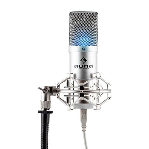 auna MIC-900S-LED Micrófono de condensador USB (cardioide, conexión
