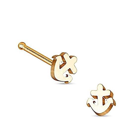 1 x Rose Gold überzogene Seemann Anker Nase Stud Bone Piercing Dicke: 0,8mm Länge: 6mm Material: Chirurgischer (Gold Überzogenes Onyx Stud)