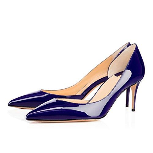 EDEFS Escarpins Femme Bout Pointu Talon Moyen Aiguille 6.5 CM Sexy Mode Classique Chaussures Bleu