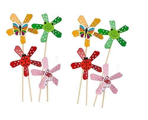 6 x Windmühlen / windrad Wind Spiel / Spinner aus Holz mit süßen Tier - Motiven - tolle Geschenk - Idee für Sommer Party, Strand, Geburstag, Feier, Mottoparty, Mitgebsel Mitbringsel