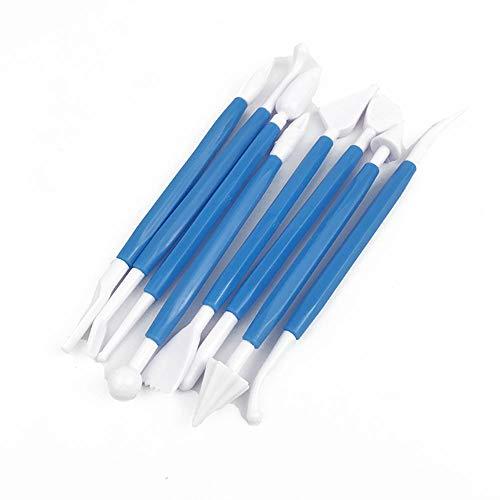Aofocy Kuchen Dekorieren Tools Creme doppelseitig Carving Messer mit 8 verschiedenen Formen Sculpting Pen-Set Für DIY Kuchen Fondant Modellierung Süßigkeiten Keramik (blau)