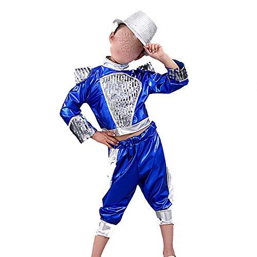 Jian E& Kinder Kostüme Jungen und Mädchen Jazz Dance Street Dance Modern Dance Kostüme Kinder Hip Hop Hip-Hop Kostüm Blau/Schwarz (Farbe : Blau, größe : - Mädchen Street Dance Kostüm