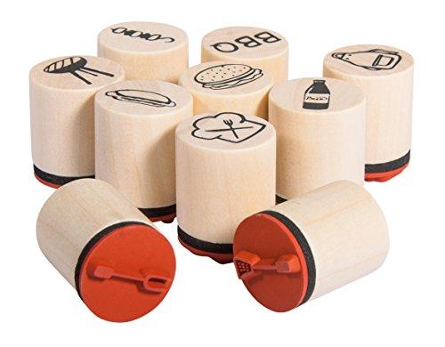 Rayher Hobby 68097000 Set 10 Mini-Holzstempel BBQ, 2,5cm, 2cmø, Motive rund ums Grillen, zum Gestalten von Einladungen, Tischkärtchen Motivstempel