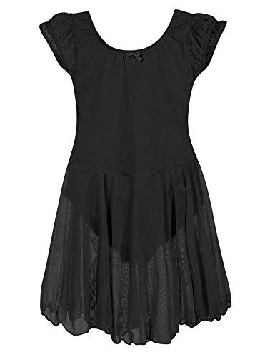 ephex Kurzarm Ballettkleid mit angenähtem, locker fallendem Chiffon-Röckchen Schwarz für 4-6 Jahre