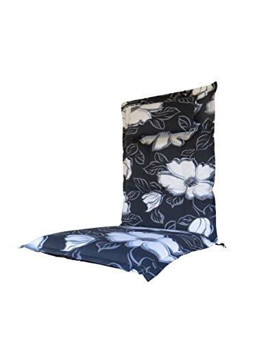 8-cm-luxus-hochlehner-auflage-mit-kopfkissen-flower-schwarz-geblumt-pure-home-garden-120-x-46-cm